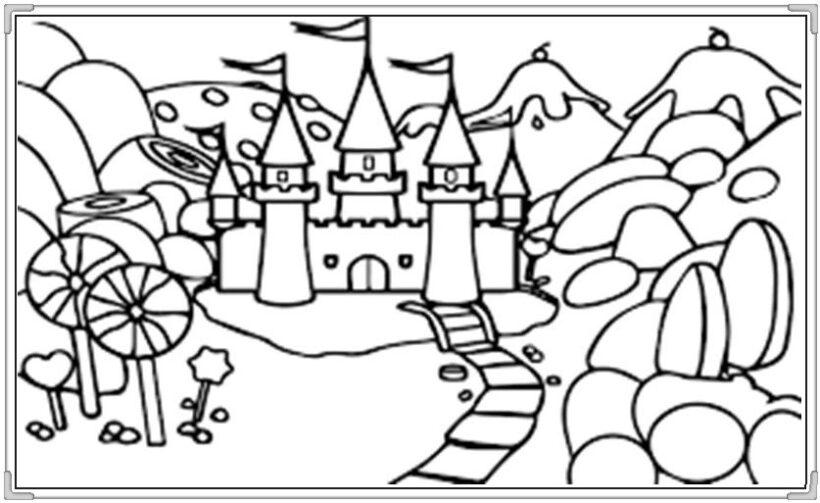 Tranh tô màu lâu đài đẹp nhất cho bé tập tô (36)
