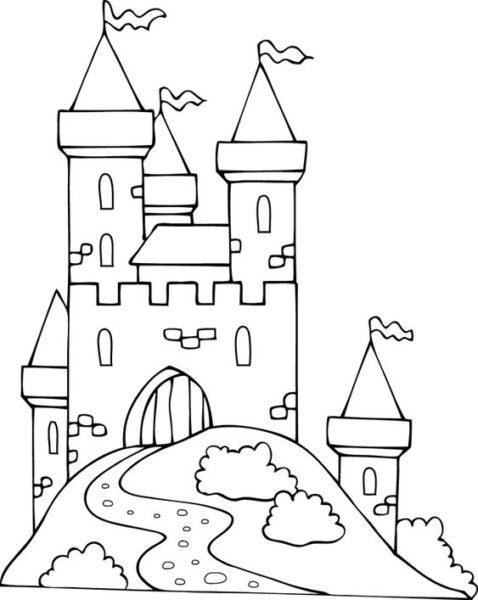 Tranh tô màu lâu đài đẹp nhất cho bé tập tô (44)