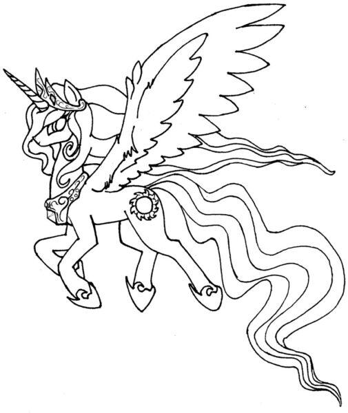 Tranh tô màu ngựa có cánh