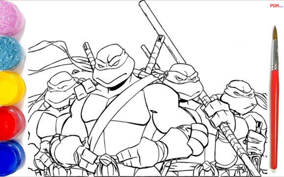 Tranh tô màu Ninja Rùa đẹp nhất