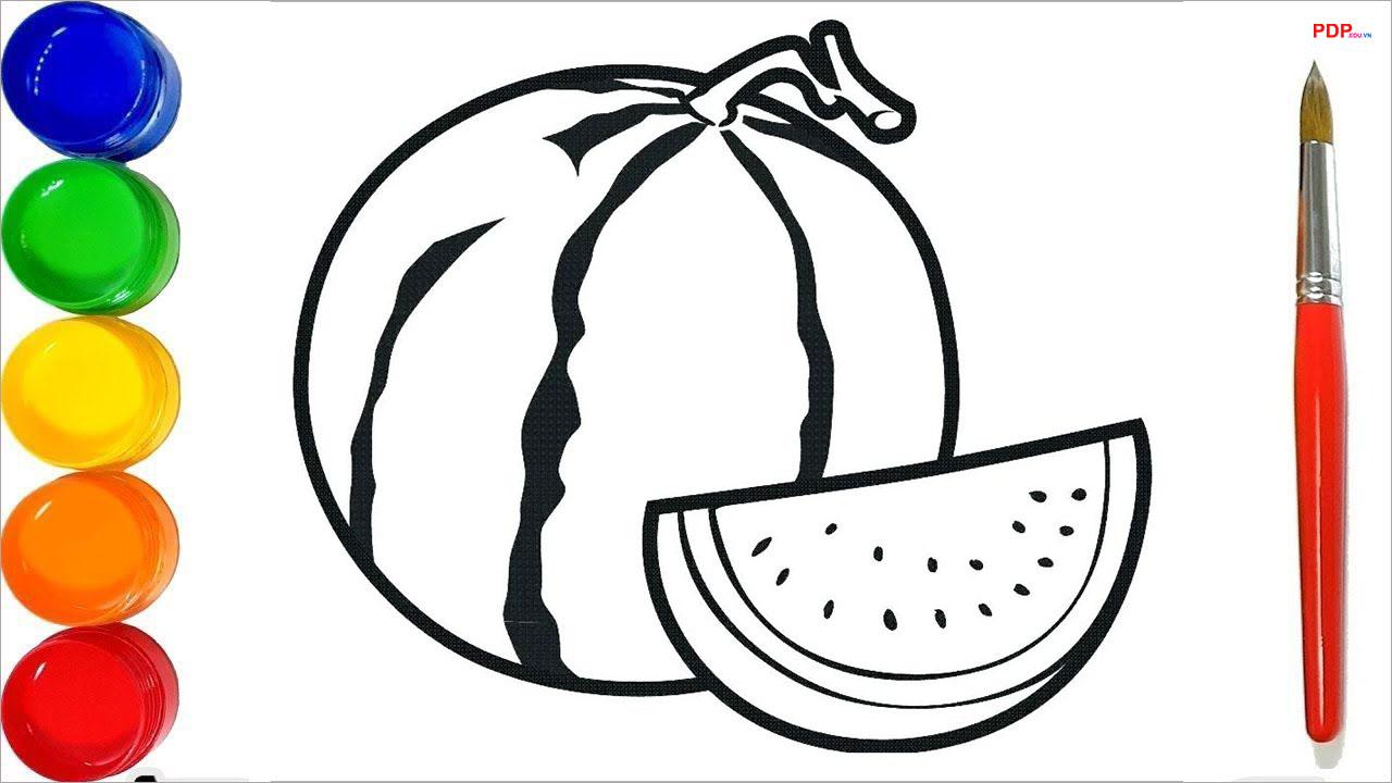 Tranh tô màu quả dưa hấu đẹp nhất