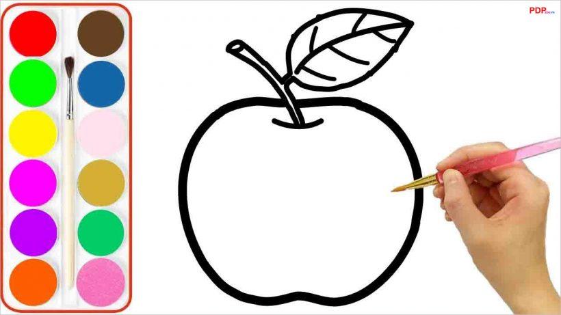 Tranh tô màu quả táo đẹp nhất