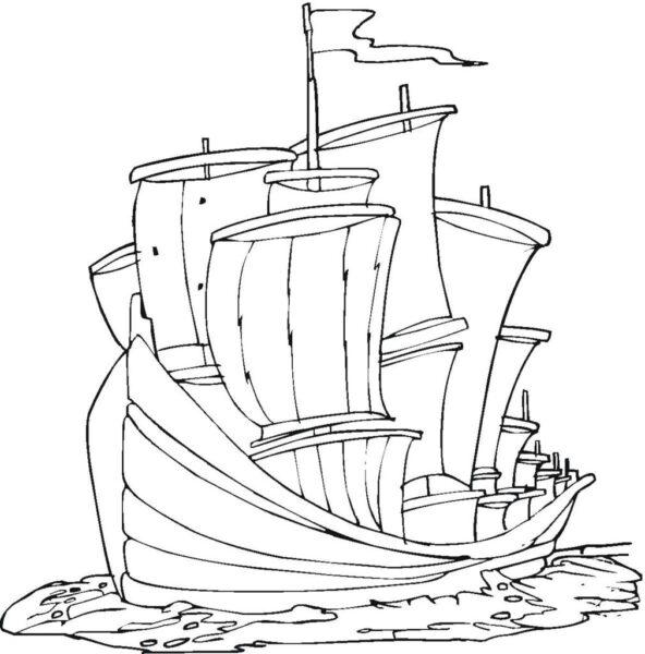 Tranh tô màu tàu thuỷ đẹp nhất cho bé tập tô (17)