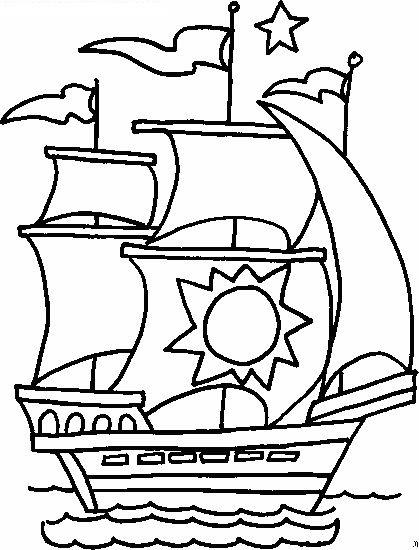 Tranh tô màu thuyền buồm cho bé tập tô (6)