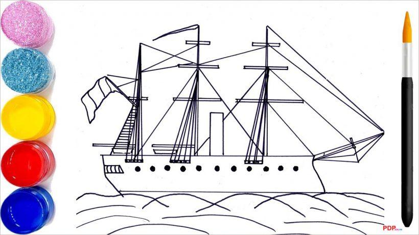 Tranh tô màu thuyền buồm đẹp nhất