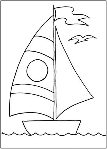 Tranh tô màu thuyền buồm đẹp nhất cho bé tập tô (28)