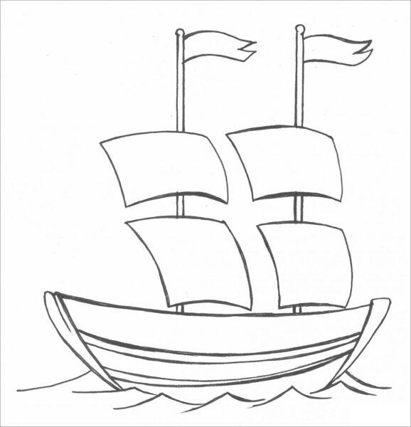 Tranh tô màu thuyền buồm đẹp nhất cho bé tập tô (29)