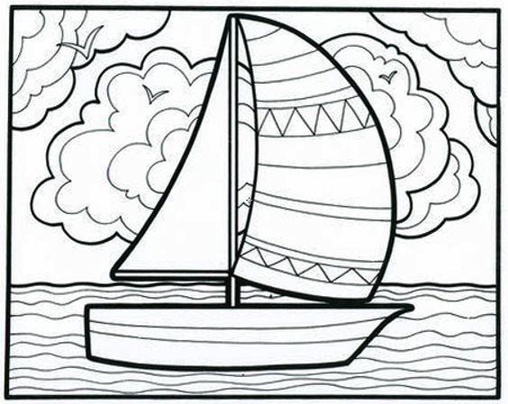 Tranh tô màu thuyền buồm đẹp nhất cho bé tập tô (30)
