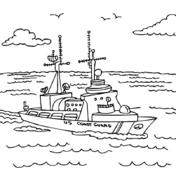 Tranh tô màu thuyền trên biển