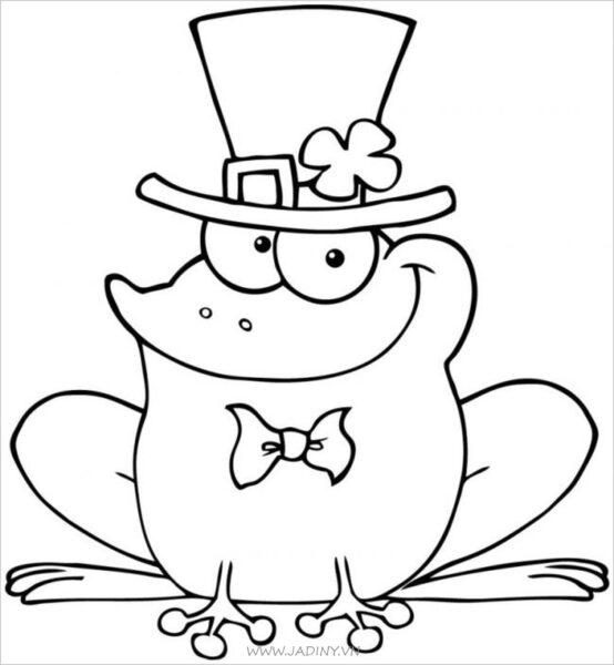 Tranh vẽ chưa màu con ếch cho bé tập tô (1)