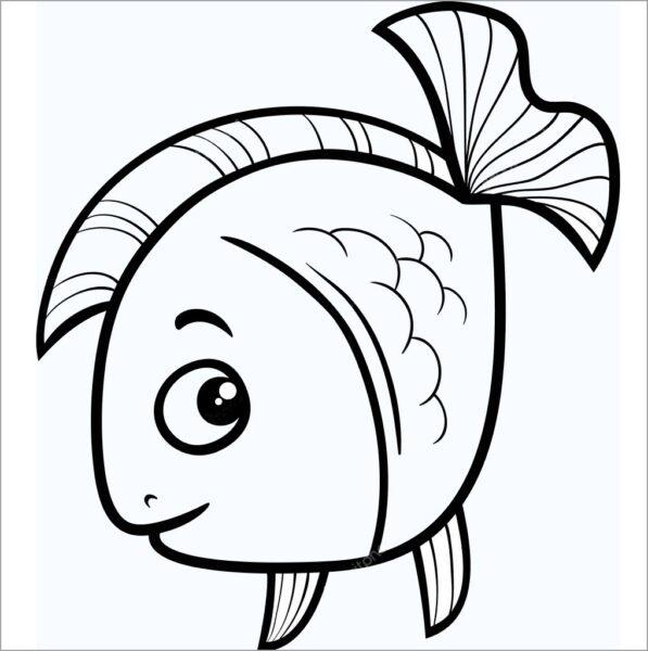 Tranh vẽ chưa tô màu chú cá vàng đẹp nhất cho bé tập tô (1)