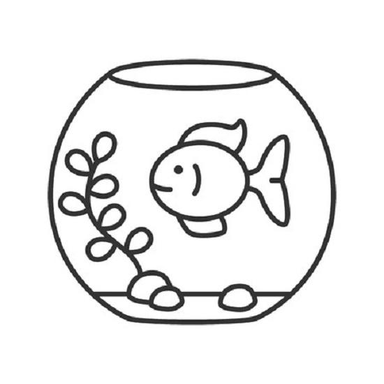Tranh vẽ chưa tô màu chú cá vàng đẹp nhất cho bé tập tô (2)