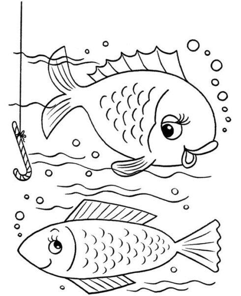 Tranh vẽ chưa tô màu chú cá vàng đẹp nhất cho bé tập tô (3)
