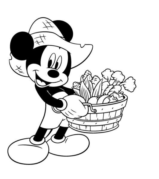 Tranh vẽ chưa tô màu chuột Mickey dễ thương cho bé tập tô (30)