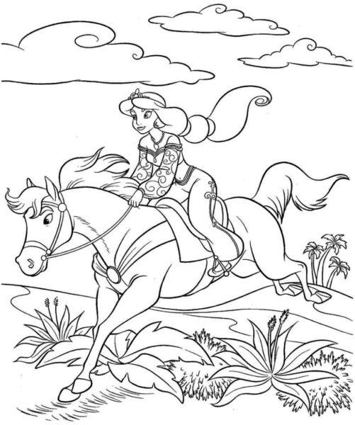 Tranh vẽ chưa tô màu con ngựa cho bé tập tô (2)