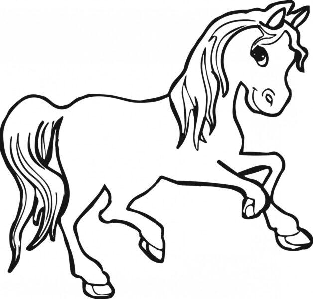Tranh vẽ chưa tô màu con ngựa cho bé tập tô (3)