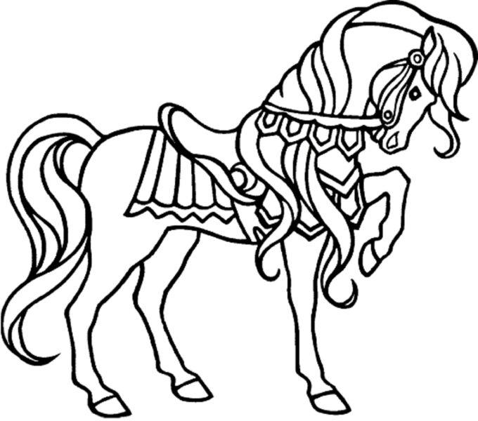 Tranh vẽ chưa tô màu con ngựa cho bé tập tô (4)