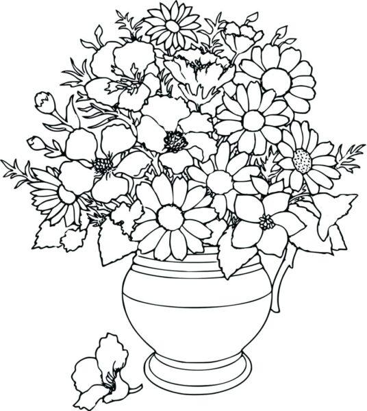 Tranh vẽ chưa tô màu hoa cúc cho bé tập tô (6)