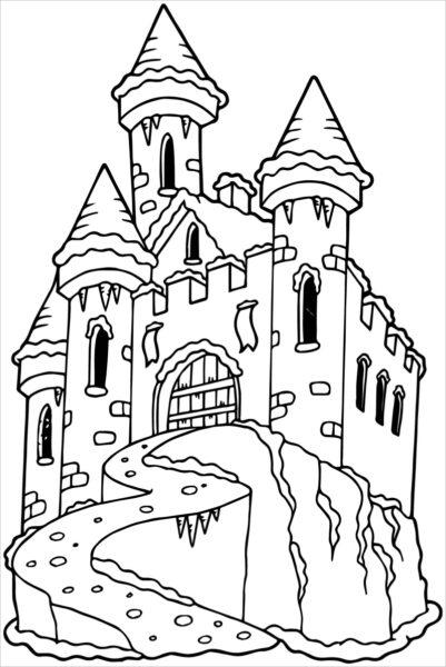 Tranh vẽ chưa tô màu lâu đài tráng lệ cho bé tập tô (1)
