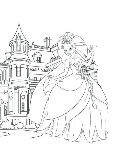 Tranh vẽ chưa tô màu lâu đài tráng lệ cho bé tập tô (5)