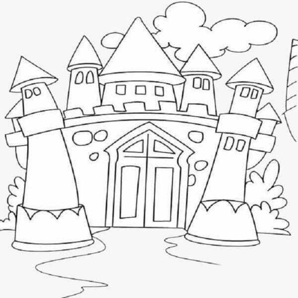 Tranh vẽ chưa tô màu lâu đài tráng lệ cho bé tập tô (6)