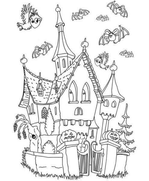 Tranh vẽ chưa tô màu lâu đài tráng lệ cho bé tập tô (7)