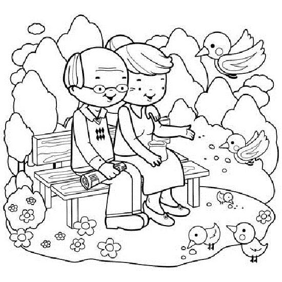 Tranh vẽ chưa tô màu ông bà cho bé tập tô (2)