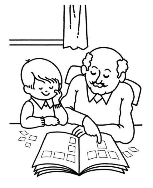 Tranh vẽ chưa tô màu ông bà cho bé tập tô (5)