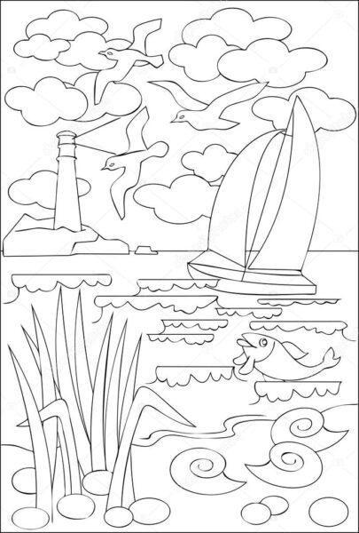 Tranh vẽ chưa tô màu phong cảnh biển đẹp cho bé tập tô (5)