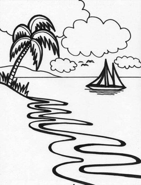 Tranh vẽ chưa tô màu phong cảnh biển đẹp cho bé tập tô (6)