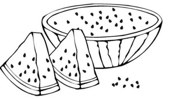 Tranh vẽ chưa tô màu quả dưa hấu cho bé tập tô (2)