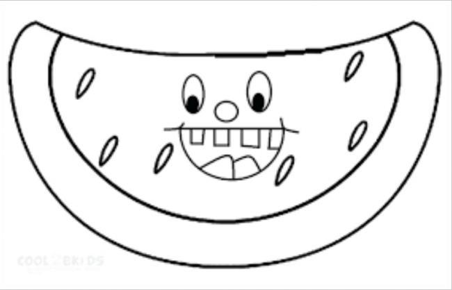 Tranh vẽ chưa tô màu quả dưa hấu cho bé tập tô (3)