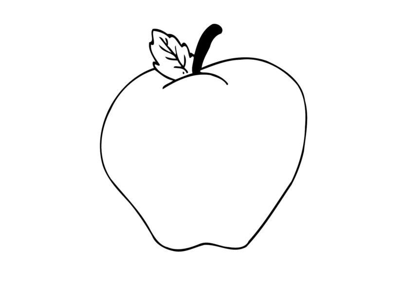 Tranh vẽ chưa tô màu quả táo cho bé tập tô (3)