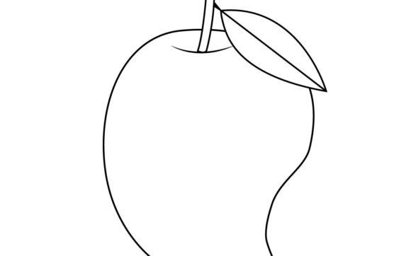 Tranh vẽ chưa tô màu quả xoài đơn giản cho bé tập tô (11)