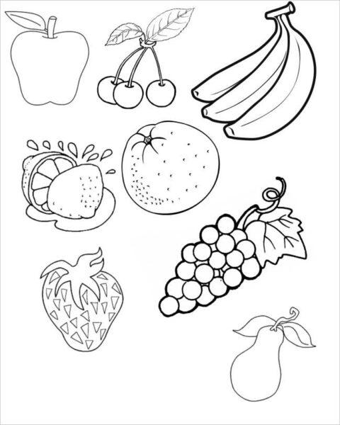 Tranh vẽ chưa tô màu rau củ quả cho bé tập tô (3)
