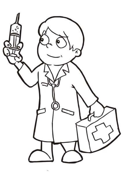 Tranh vẽ đen trắng bác sĩ đẹp nhất cho bé tô màu (2)