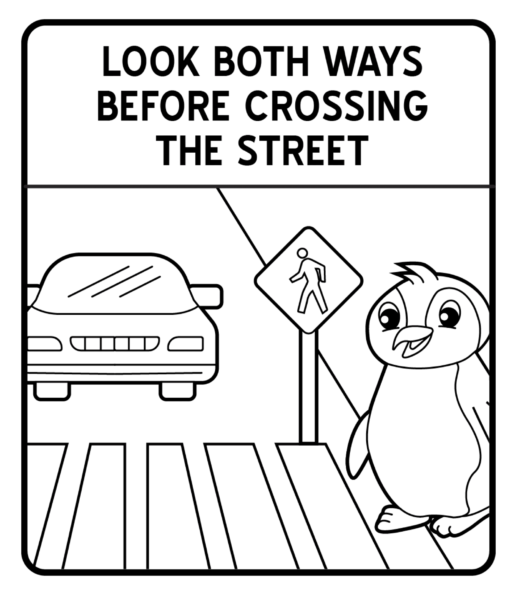 Tranh vẽ đen trắng biển báo giao thông cho bé tô màu (3)