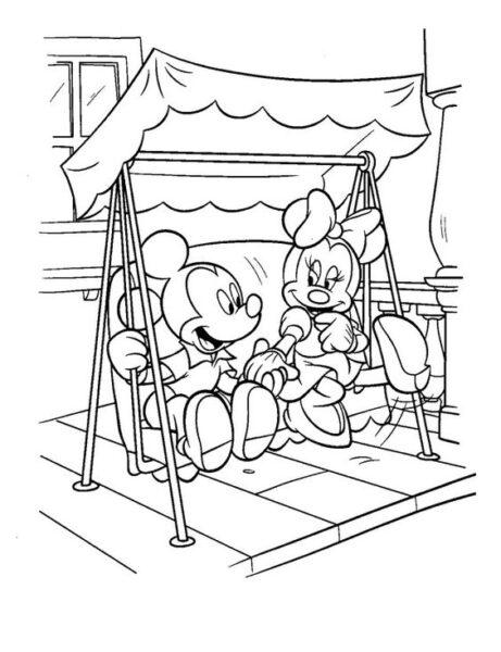 Tranh vẽ đen trắng chuột Mickey đáng yêu cho bé tập tô (2)
