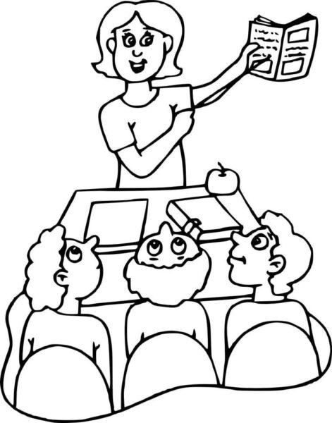 Tranh vẽ đen trắng cô giáo và học sinh cho bé tô màu (1)