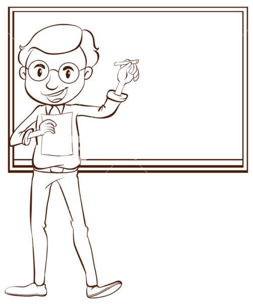 Tranh vẽ đen trắng cô giáo và học sinh cho bé tô màu (2)