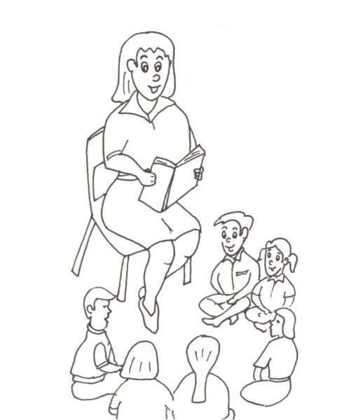 Tranh vẽ đen trắng cô giáo và học sinh cho bé tô màu (5)