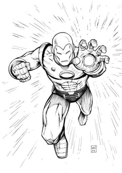 Tranh vẽ đen trắng Iron Man cho bé tô màu (3)
