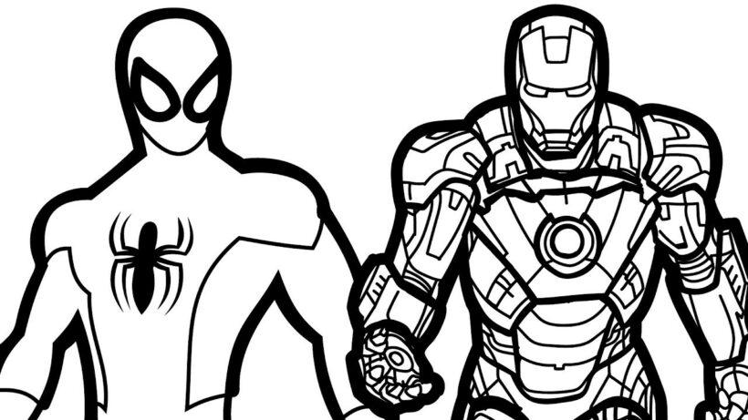 Tranh vẽ đen trắng Iron Man cho bé tô màu (4)