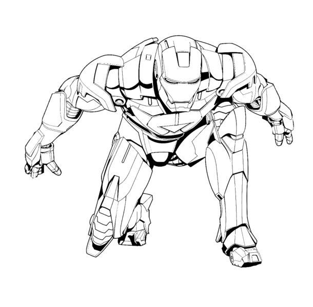 iron man coloring pages - Iron Man Iron Man atterrato con la sua possente armatura