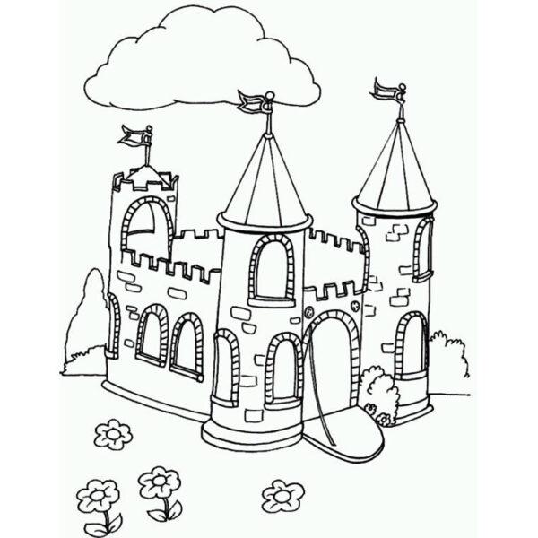Tranh vẽ đen trắng lâu đài cho bé tô màu (1)