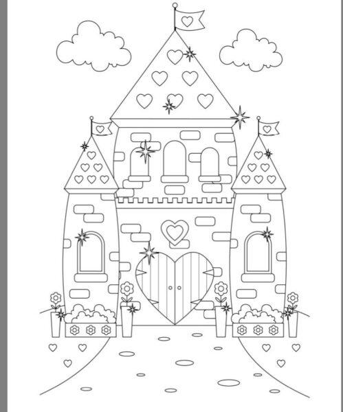 Tranh vẽ đen trắng lâu đài cho bé tô màu (2)