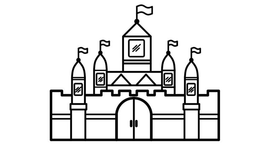 Tranh vẽ đen trắng lâu đài cho bé tô màu (4)