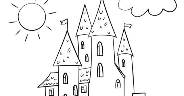 Tranh vẽ đen trắng lâu đài cho bé tô màu (5)