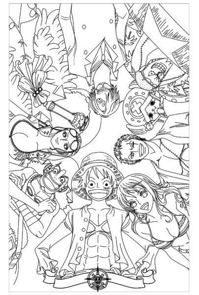 Tranh vẽ đen trắng One Piece cho bé tô màu (1)