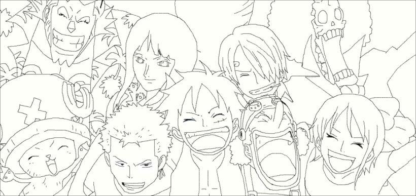 Tranh vẽ đen trắng One Piece cho bé tô màu (3)